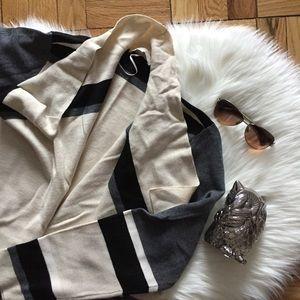 LOFT Striped Colorblock Open Cardigan